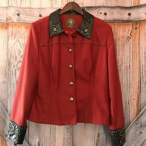 Women's Double Ranch Button up Jacket Leather NWT